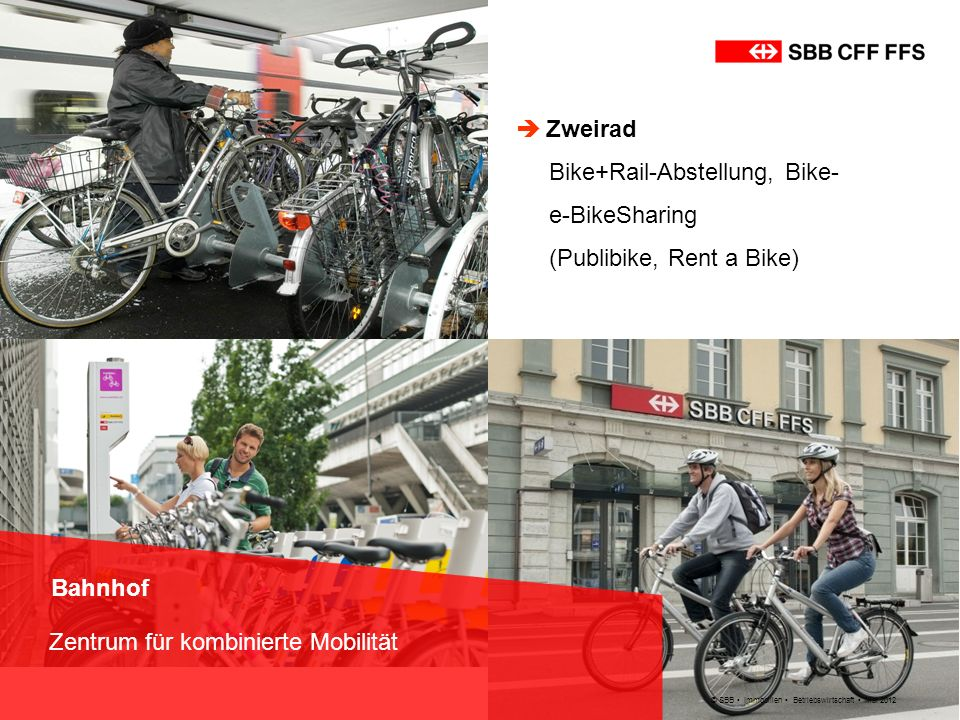 Bike+Rail-Abstellung, Bike- e-BikeSharing (Publibike, Rent a Bike)