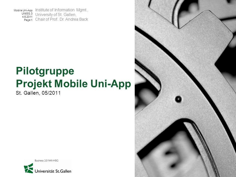 Pilotgruppe Projekt Mobile Uni-App St. Gallen, 05/2011