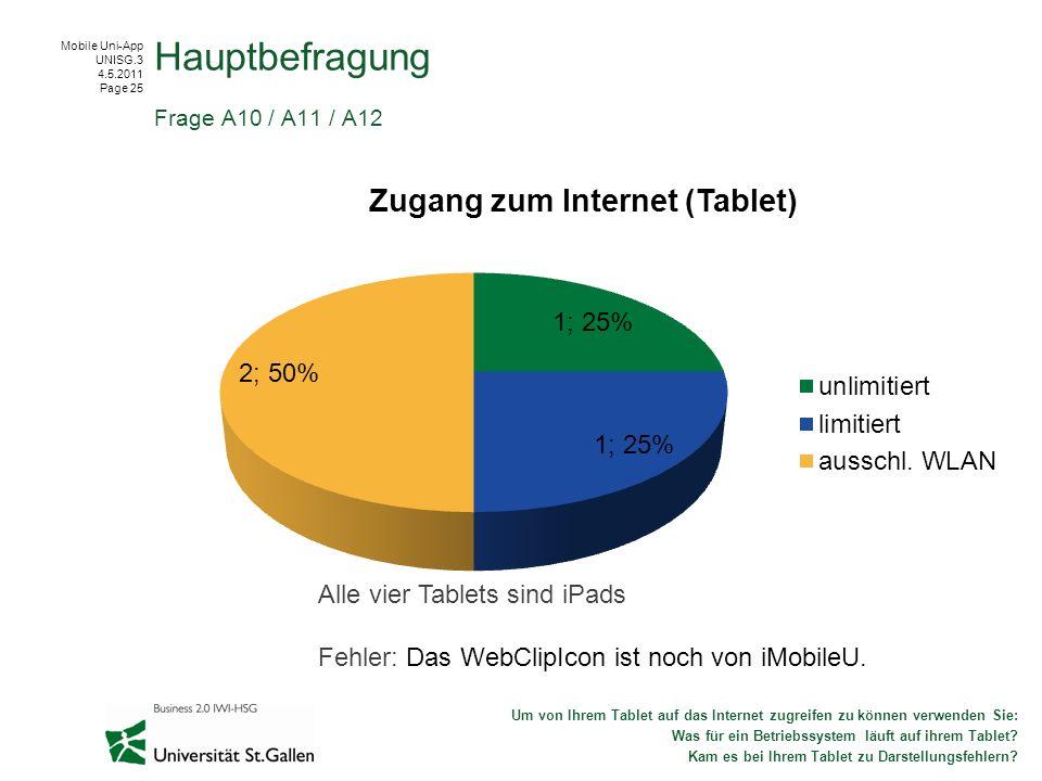 Hauptbefragung Alle vier Tablets sind iPads