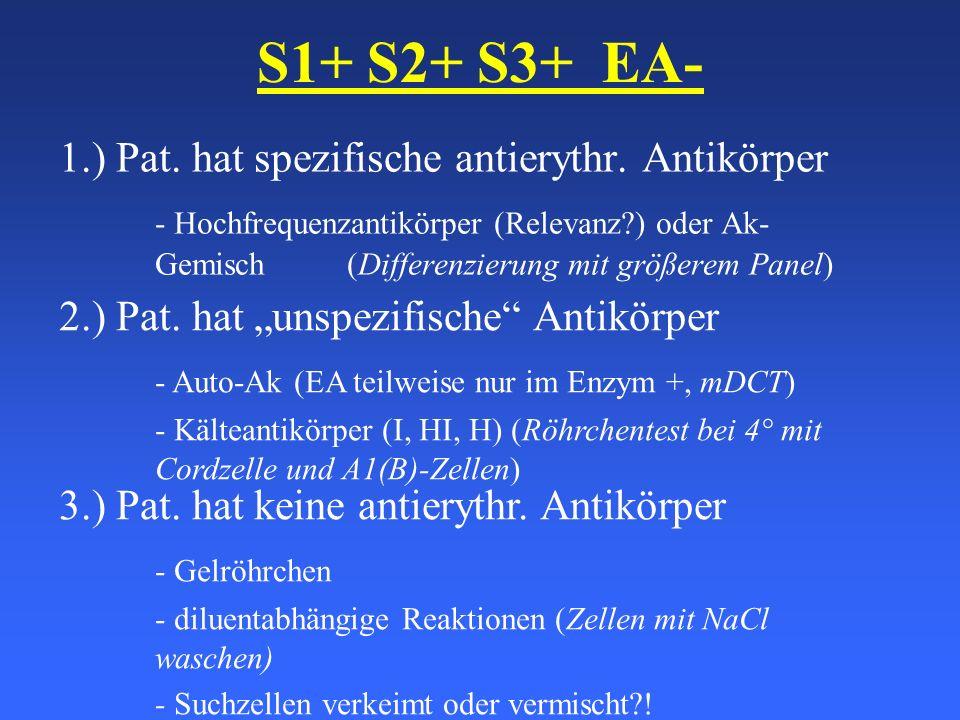 S1+ S2+ S3+ EA- 1.) Pat. hat spezifische antierythr. Antikörper