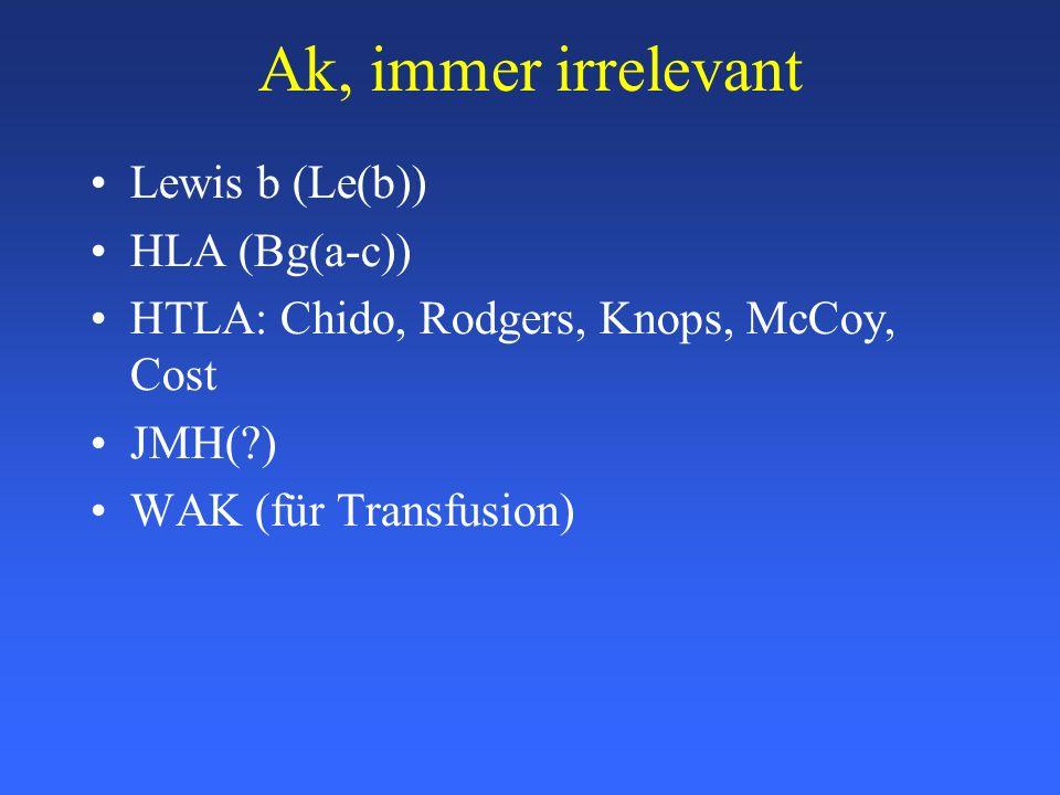 Ak, immer irrelevant Lewis b (Le(b)) HLA (Bg(a-c))
