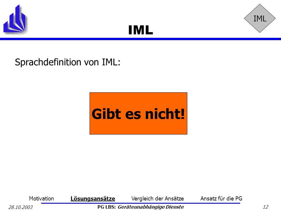 Gibt es nicht! IML Sprachdefinition von IML: IML