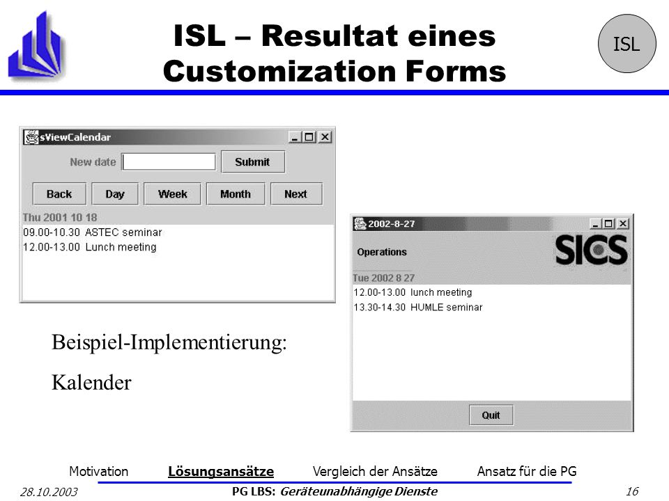 ISL – Resultat eines Customization Forms