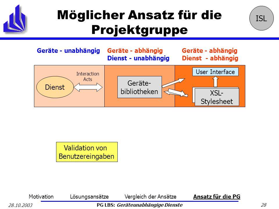 Möglicher Ansatz für die Projektgruppe