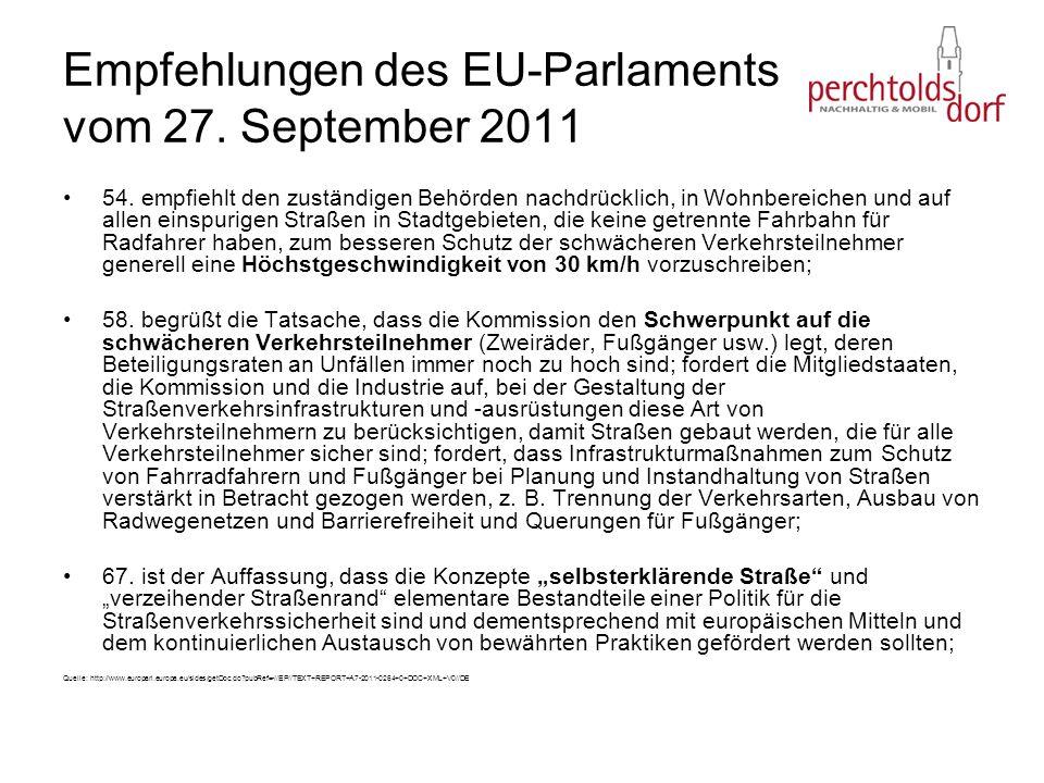 Empfehlungen des EU-Parlaments vom 27. September 2011