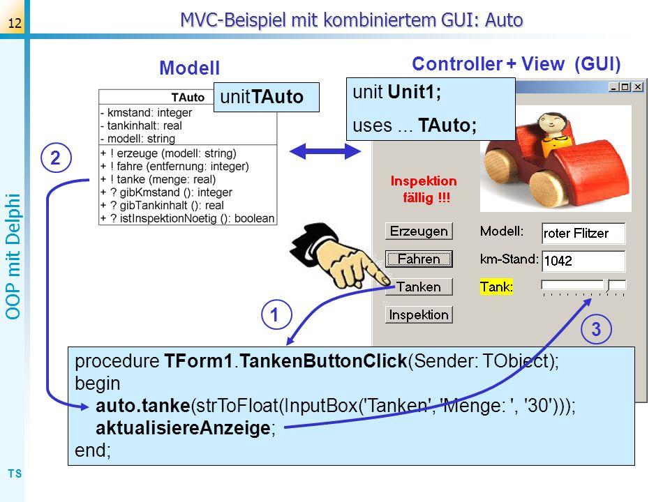 MVC-Beispiel mit kombiniertem GUI: Auto