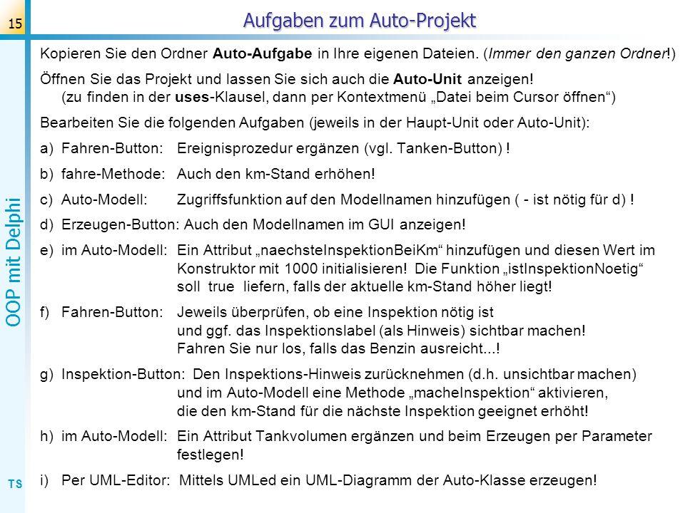 Aufgaben zum Auto-Projekt