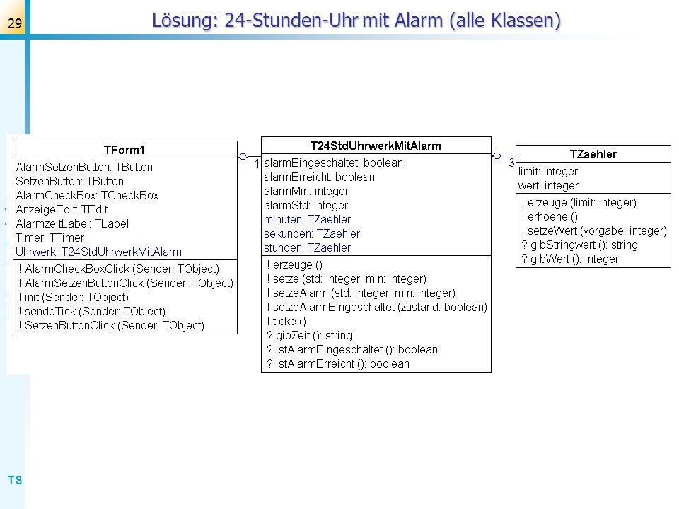 Lösung: 24-Stunden-Uhr mit Alarm (alle Klassen)