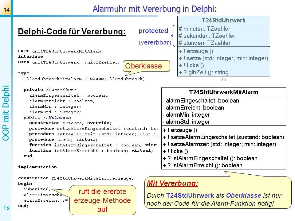 Alarmuhr mit Vererbung in Delphi: