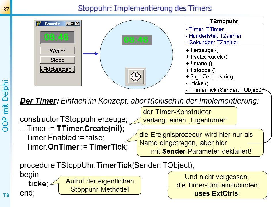 Stoppuhr: Implementierung des Timers
