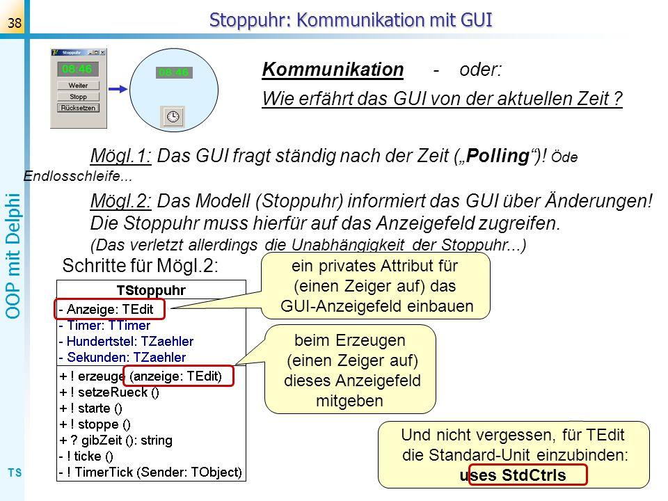 Stoppuhr: Kommunikation mit GUI