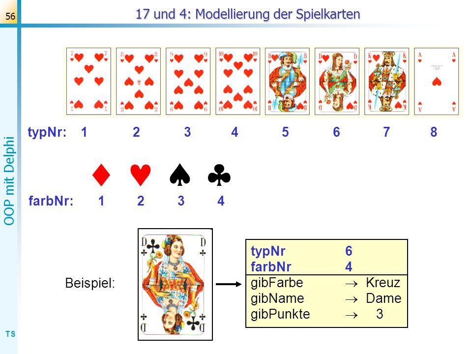 17 und 4: Modellierung der Spielkarten