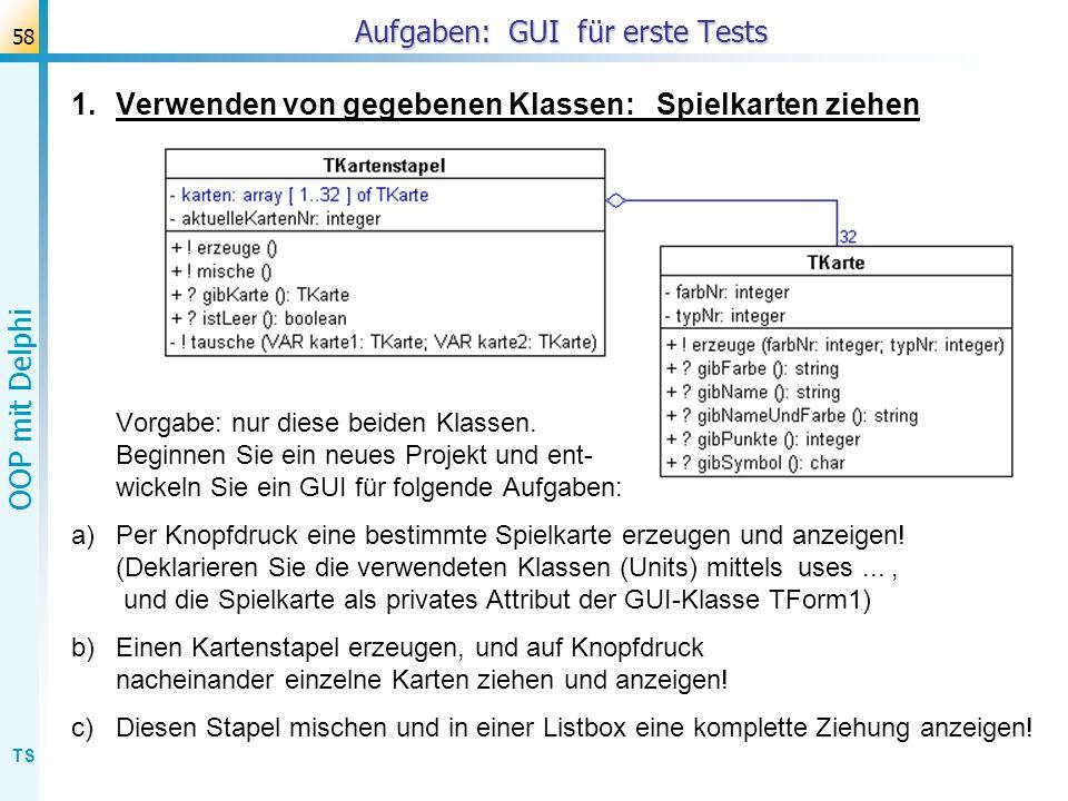 Aufgaben: GUI für erste Tests