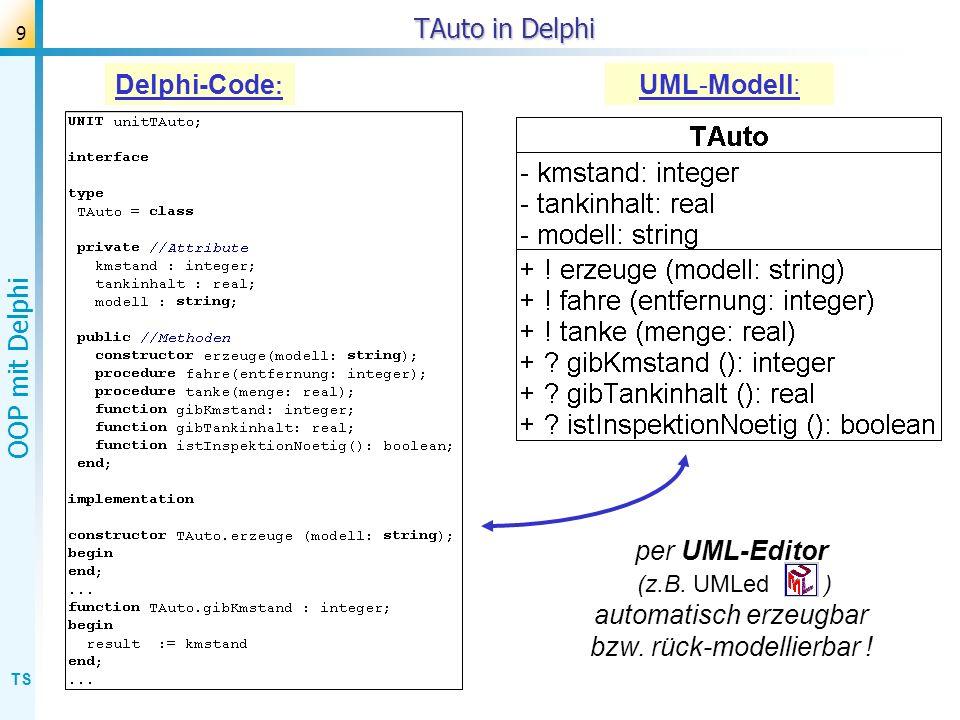 TAuto in Delphi Delphi-Code: UML-Modell: per UML-Editor (z.B.