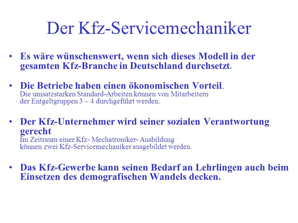 Der Kfz-Servicemechaniker