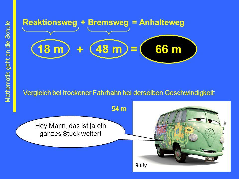 66 m 18 m 48 m + = Reaktionsweg + Bremsweg = Anhalteweg