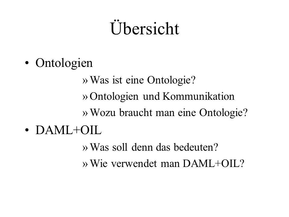Übersicht Ontologien DAML+OIL Was ist eine Ontologie