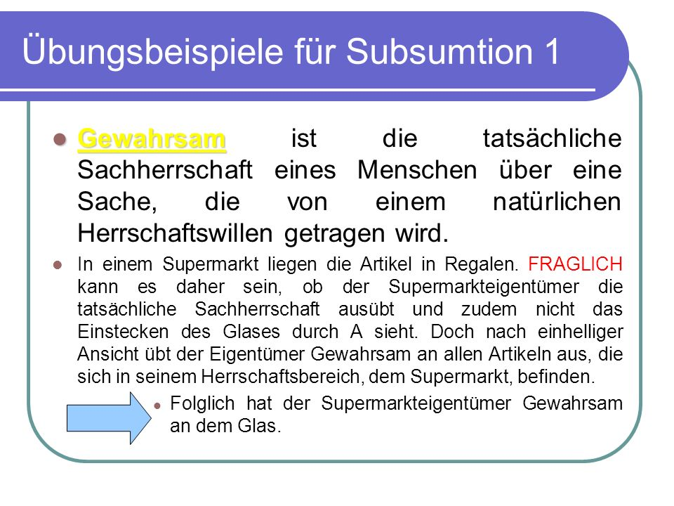 Übungsbeispiele für Subsumtion 1