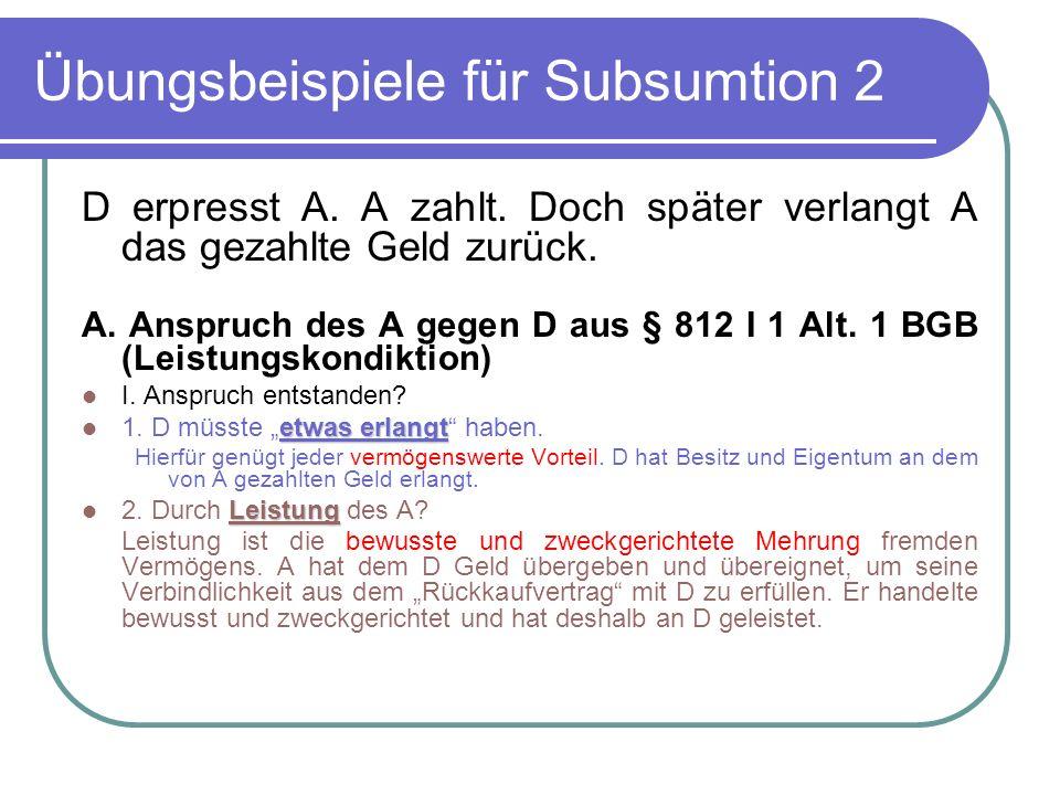 Übungsbeispiele für Subsumtion 2