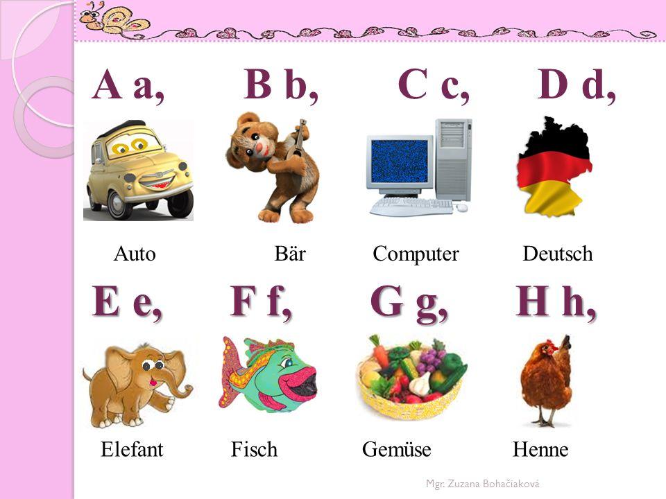 A a, B b, C c, D d, E e, F f, G g, H h, Auto Bär Computer Deutsch