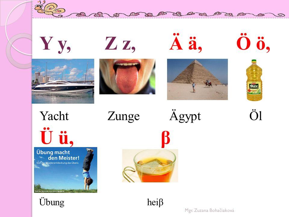 Y y, Z z, Ä ä, Ö ö, Ü ü, β Yacht Zunge Ägypt Öl Übung heiβ
