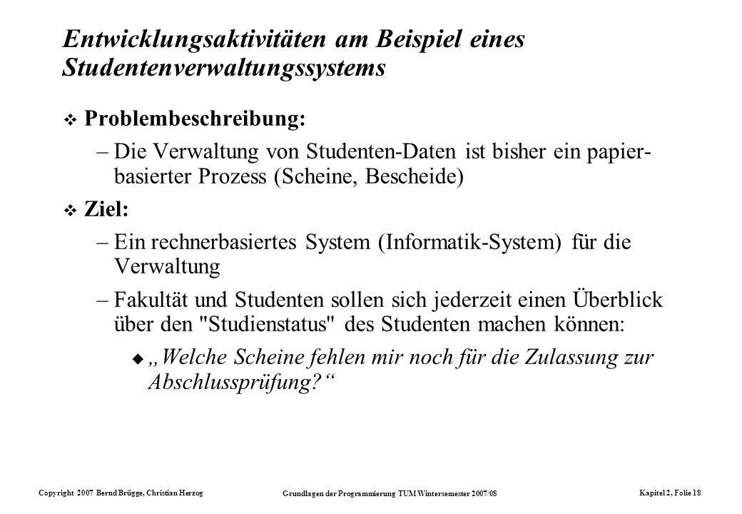 Entwicklungsaktivitäten am Beispiel eines Studentenverwaltungssystems