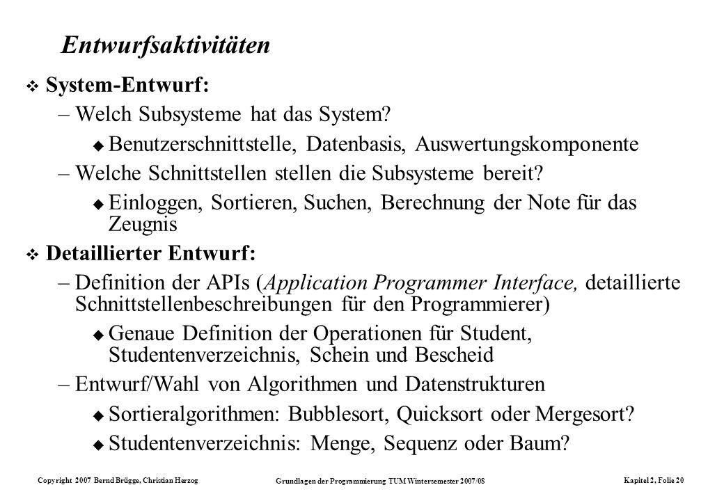 Entwurfsaktivitäten System-Entwurf: Welch Subsysteme hat das System