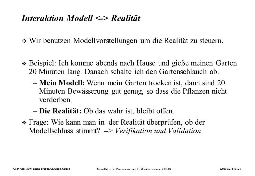 Interaktion Modell <-> Realität