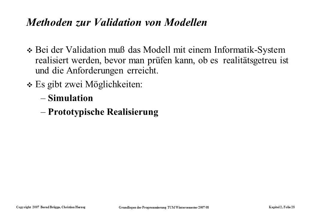 Methoden zur Validation von Modellen