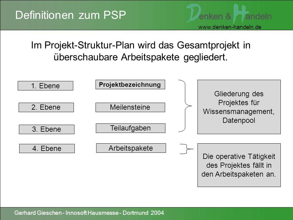 Definitionen zum PSPIm Projekt-Struktur-Plan wird das Gesamtprojekt in überschaubare Arbeitspakete gegliedert.
