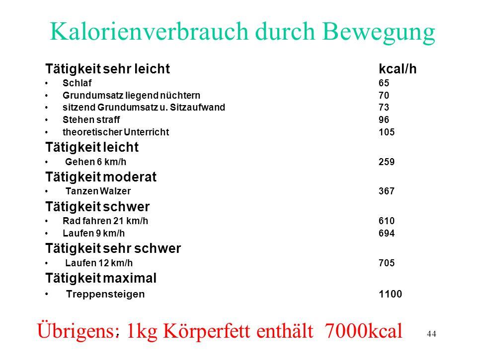 Kalorienverbrauch durch Bewegung