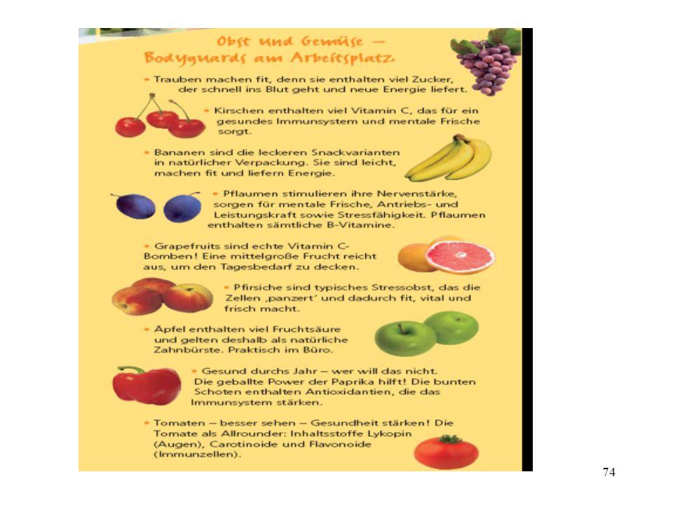 Obst und Gemüse am Arbeitsplatz