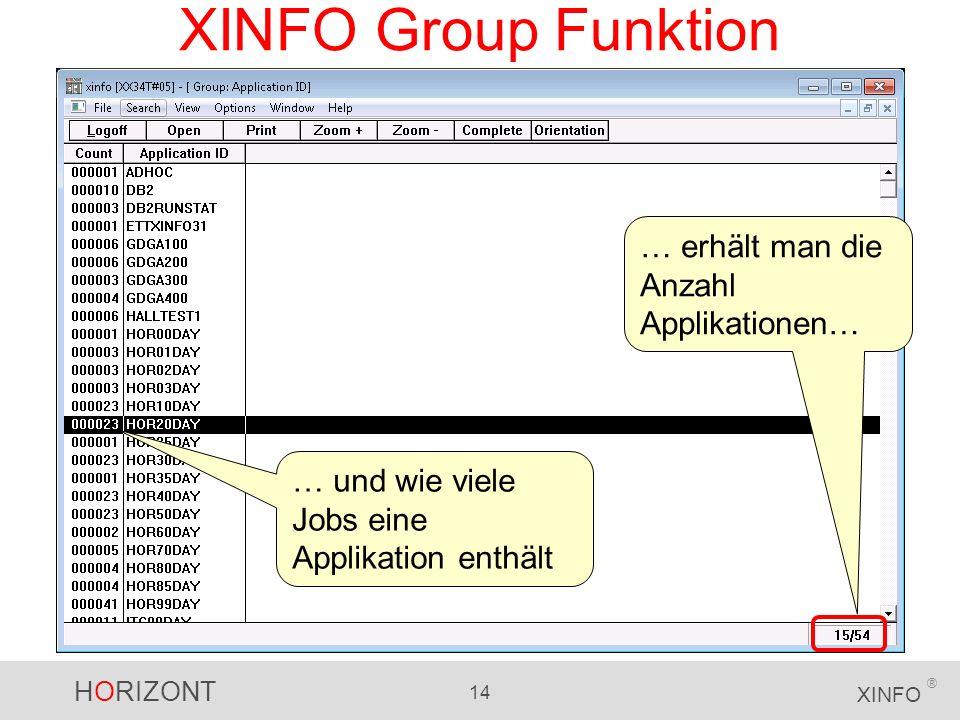 XINFO Group Funktion … erhält man die Anzahl Applikationen…
