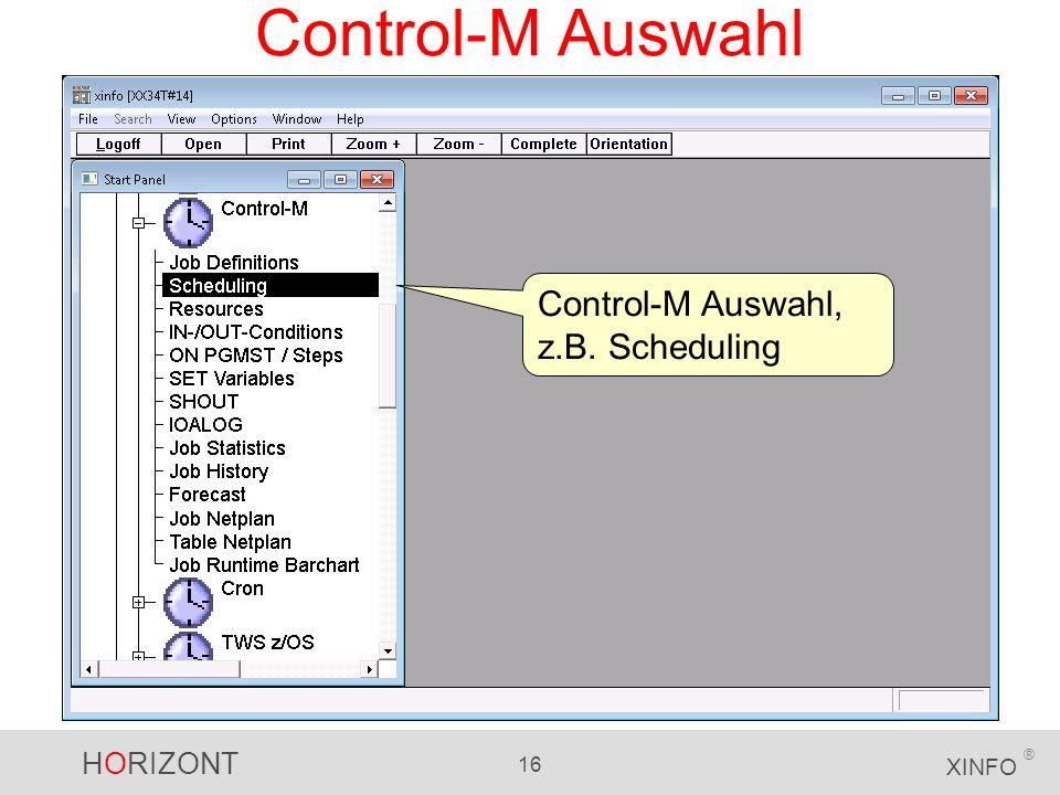 Control-M Auswahl Control-M Auswahl, z.B. Scheduling