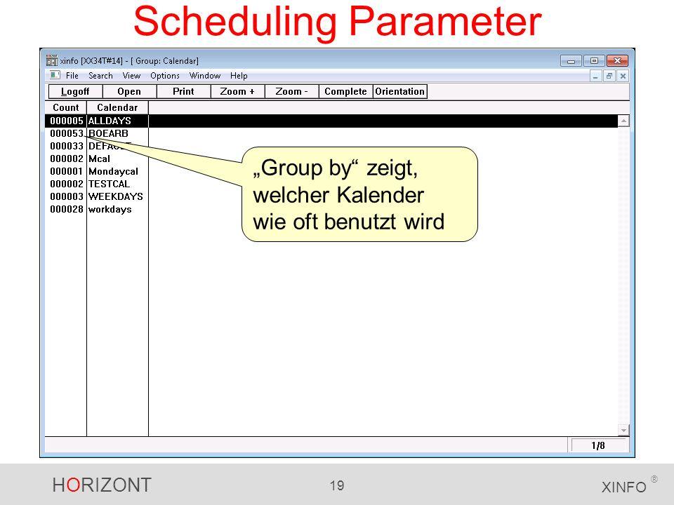 """Scheduling Parameter """"Group by zeigt, welcher Kalender wie oft benutzt wird"""
