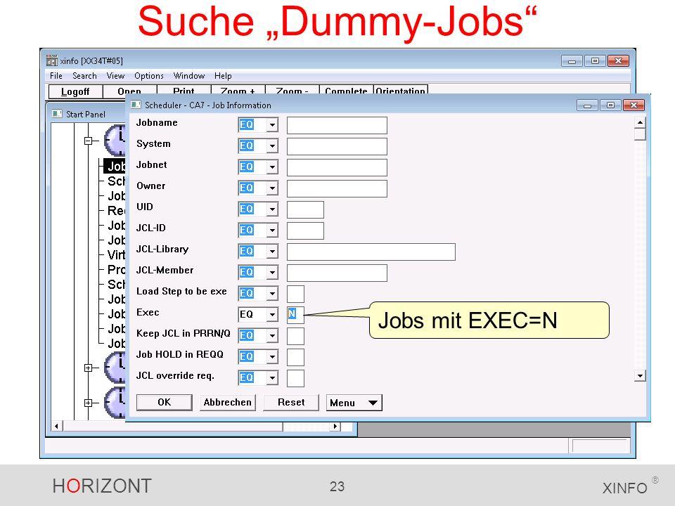 """Suche """"Dummy-Jobs Jobs mit EXEC=N"""