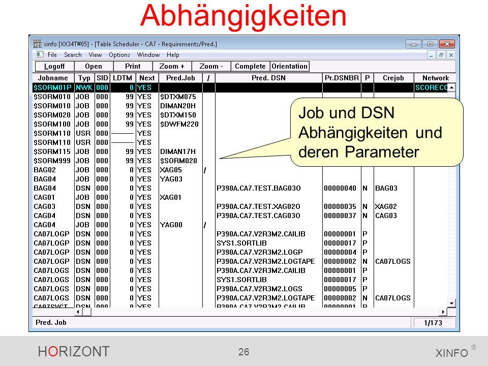 Abhängigkeiten Job und DSN Abhängigkeiten und deren Parameter
