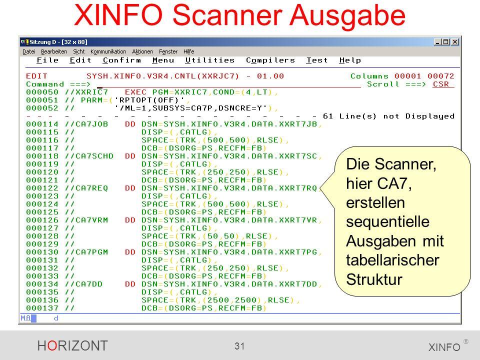 XINFO Scanner Ausgabe Die Scanner, hier CA7, erstellen sequentielle Ausgaben mit tabellarischer Struktur.