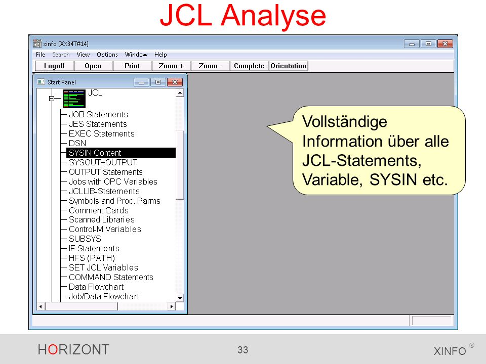 JCL Analyse Vollständige Information über alle JCL-Statements, Variable, SYSIN etc.