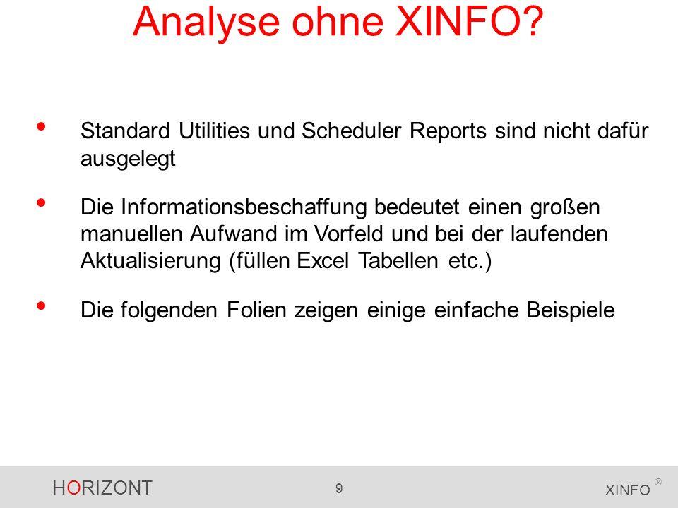 Analyse ohne XINFO Standard Utilities und Scheduler Reports sind nicht dafür ausgelegt.