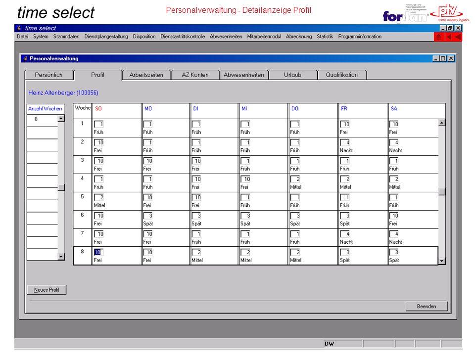 Personalverwaltung - Detailanzeige Profil