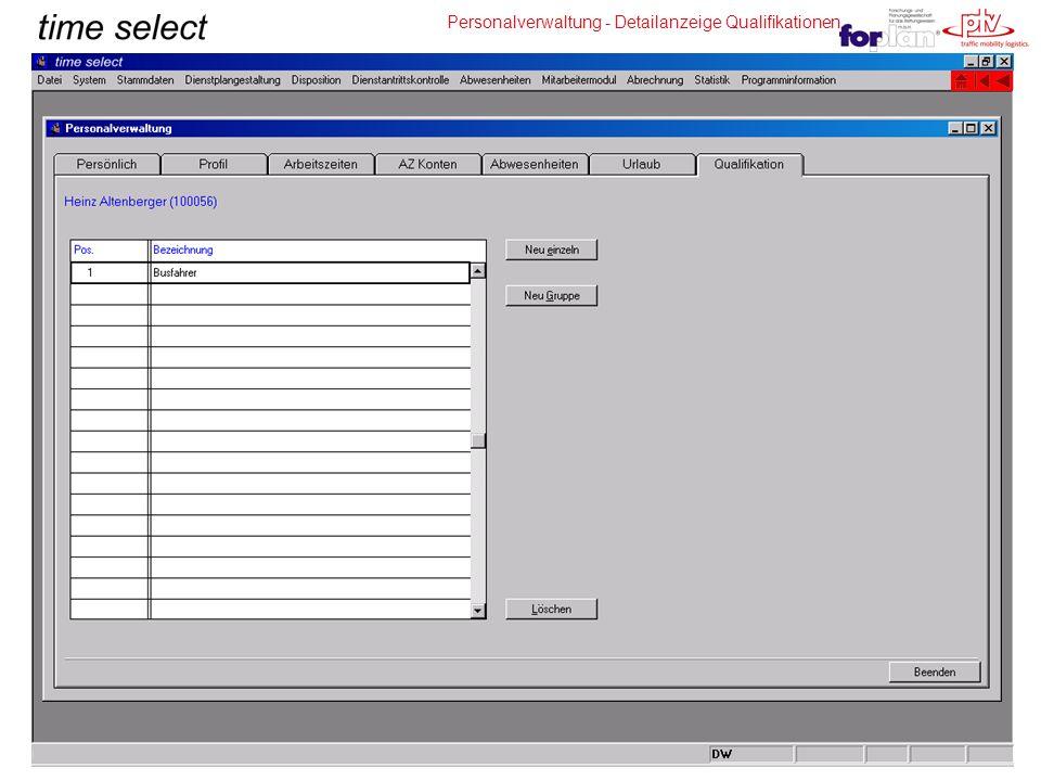 Personalverwaltung - Detailanzeige Qualifikationen