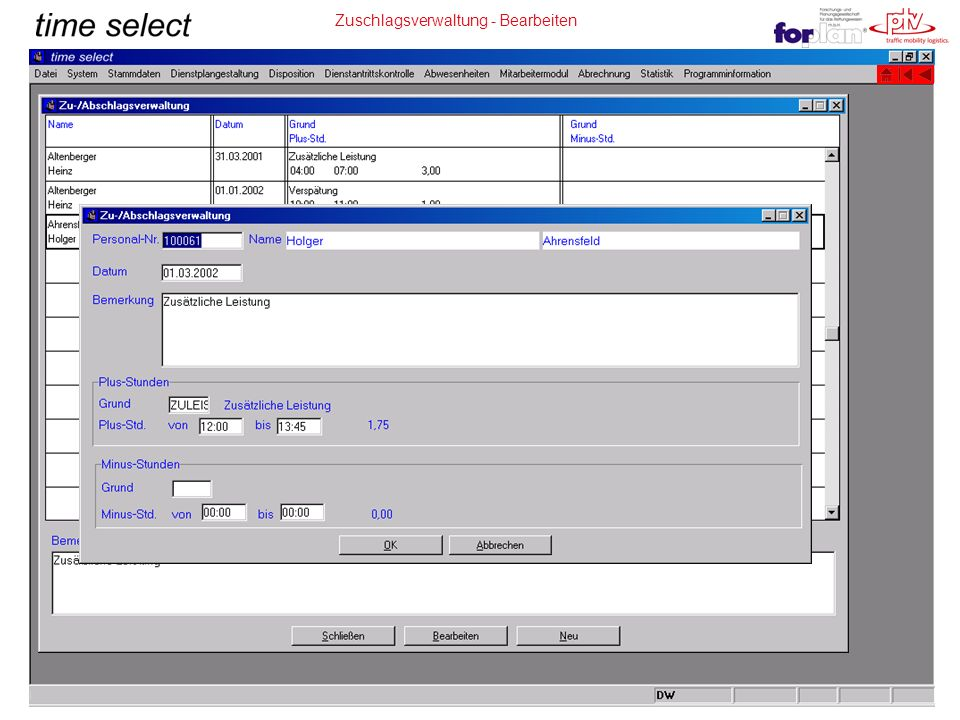 Zuschlagsverwaltung - Bearbeiten
