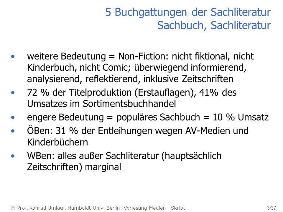 5 Buchgattungen der Sachliteratur Sachbuch, Sachliteratur