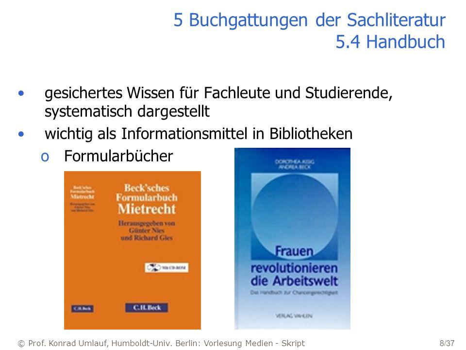 5 Buchgattungen der Sachliteratur 5.4 Handbuch