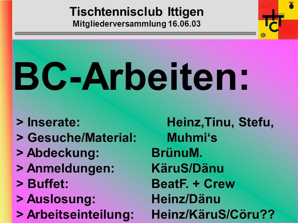Tischtennisclub Ittigen Mitgliederversammlung 16.06.03