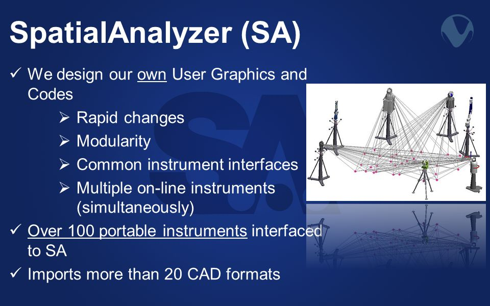 SpatialAnalyzer (SA) We design our own User Graphics and Codes