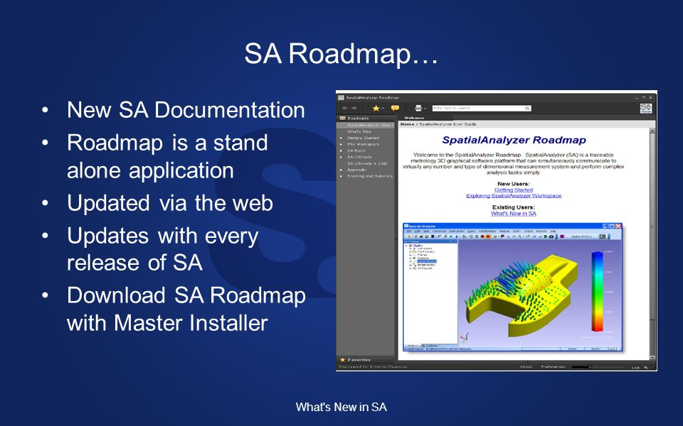 SA Roadmap… New SA Documentation Roadmap is a stand alone application