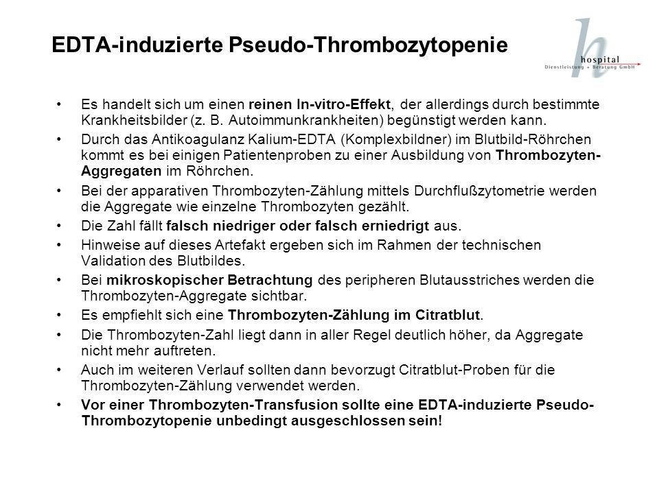 EDTA-induzierte Pseudo-Thrombozytopenie