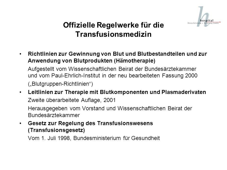 Offizielle Regelwerke für die Transfusionsmedizin